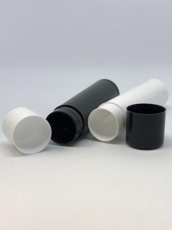 black and white lip balm tubes open